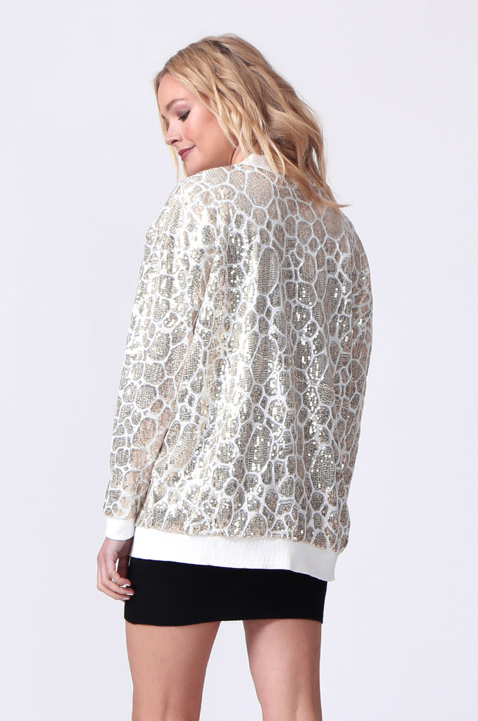 SLW0320-WHITE SEQUIN BLAZER view 3