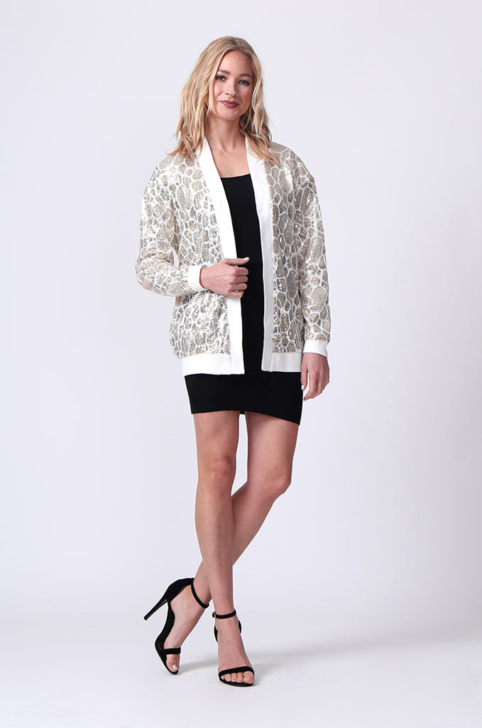 SLW0320-WHITE SEQUIN BLAZER view 4