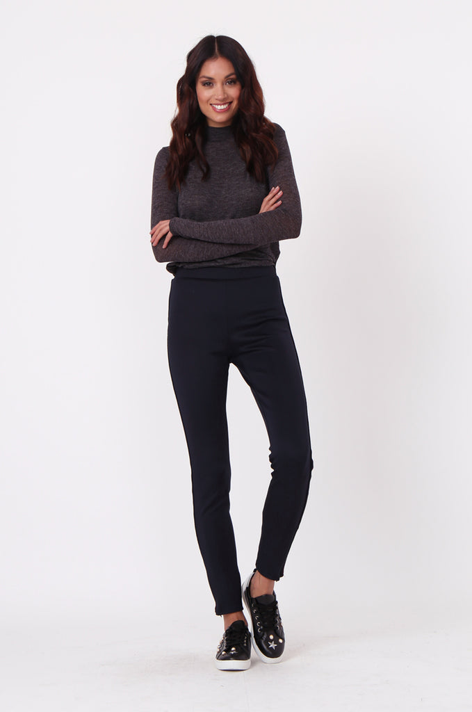 SLW0323-NAVY HIGH WAISTED ANKLE ZIP PANT WITH STRIPE DETAIL view 2