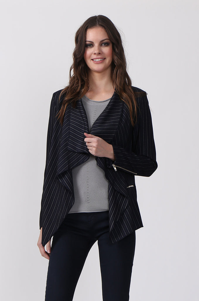 SLW0324-NAVY STRIPED ZIP POCKET JACKET