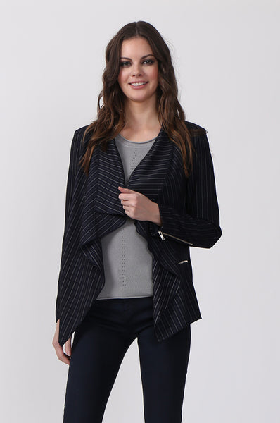 STRIPED ZIP POCKET JACKET