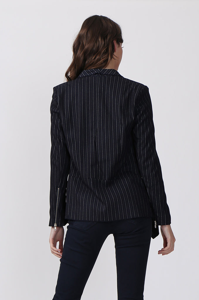 SLW0324-NAVY STRIPED ZIP POCKET JACKET view 3