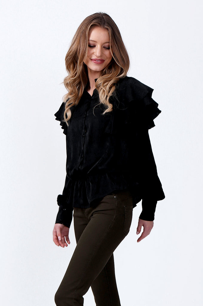 SLW0326-BLACK SATIN SHOULDER FRILL BLOUSE view 2