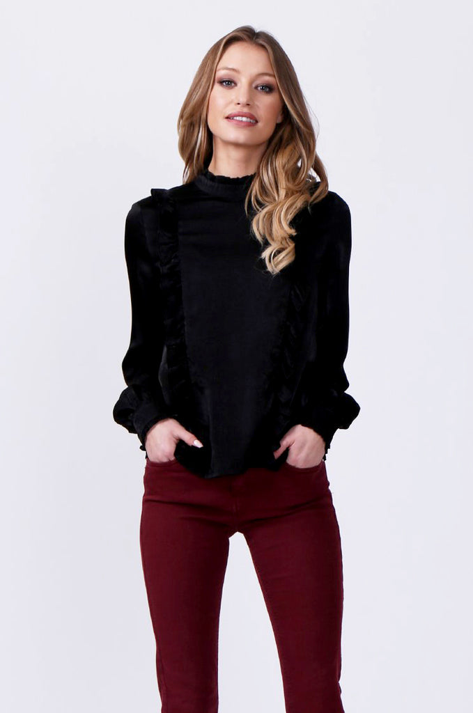 SLW0327-BLACK PANELLED BLOUSE WITH RUFFLE DETAIL