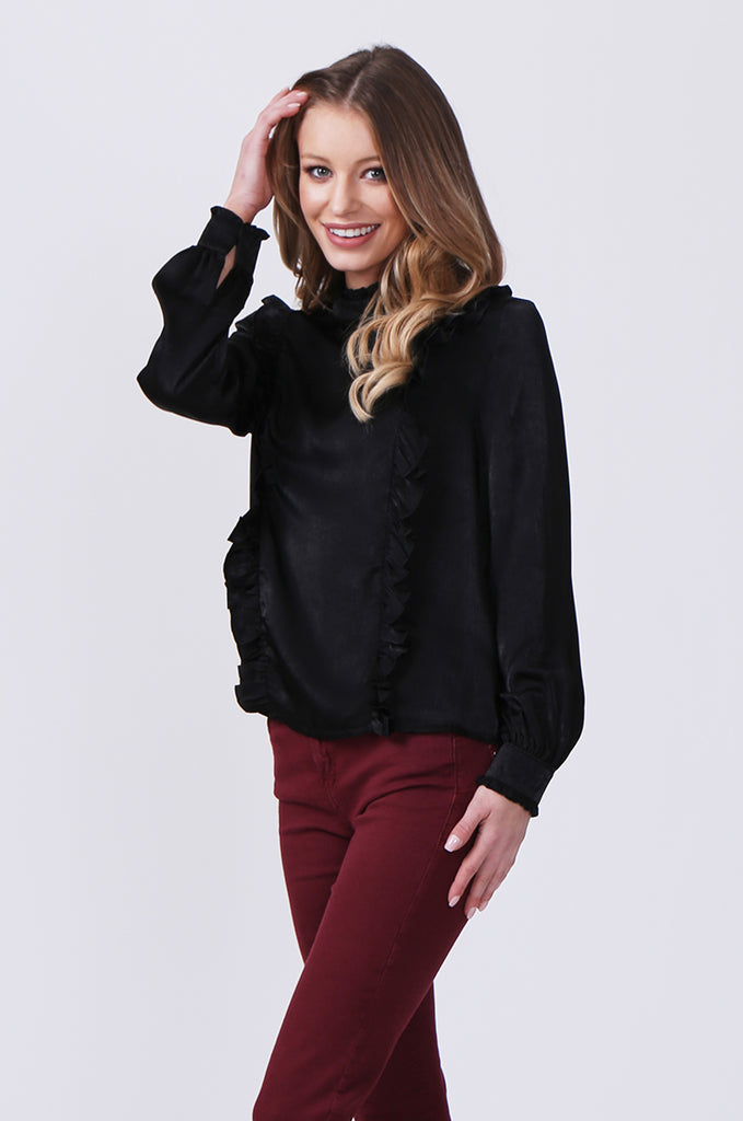SLW0327-BLACK PANELLED BLOUSE WITH RUFFLE DETAIL view 2