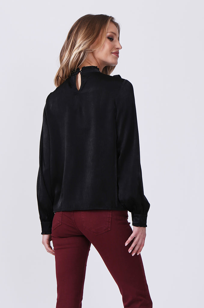 SLW0327-BLACK PANELLED BLOUSE WITH RUFFLE DETAIL view 3