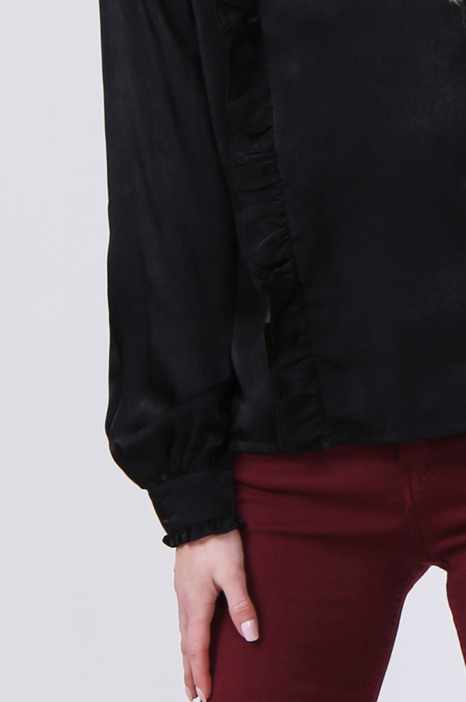 SLW0327-BLACK PANELLED BLOUSE WITH RUFFLE DETAIL view 5