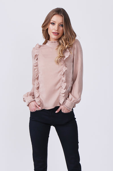 PANELLED BLOUSE WITH RUFFLE DETAIL