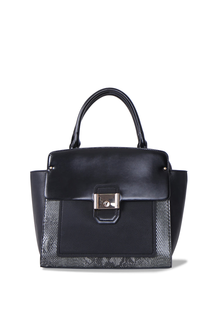 SM0640-BLACK CONTRAST SNAKE SHOULDER BAG