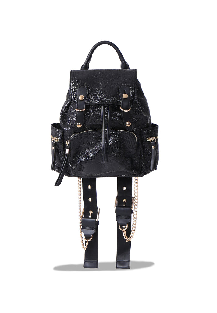 SM0651-BLACK GLITTER BACKPACK