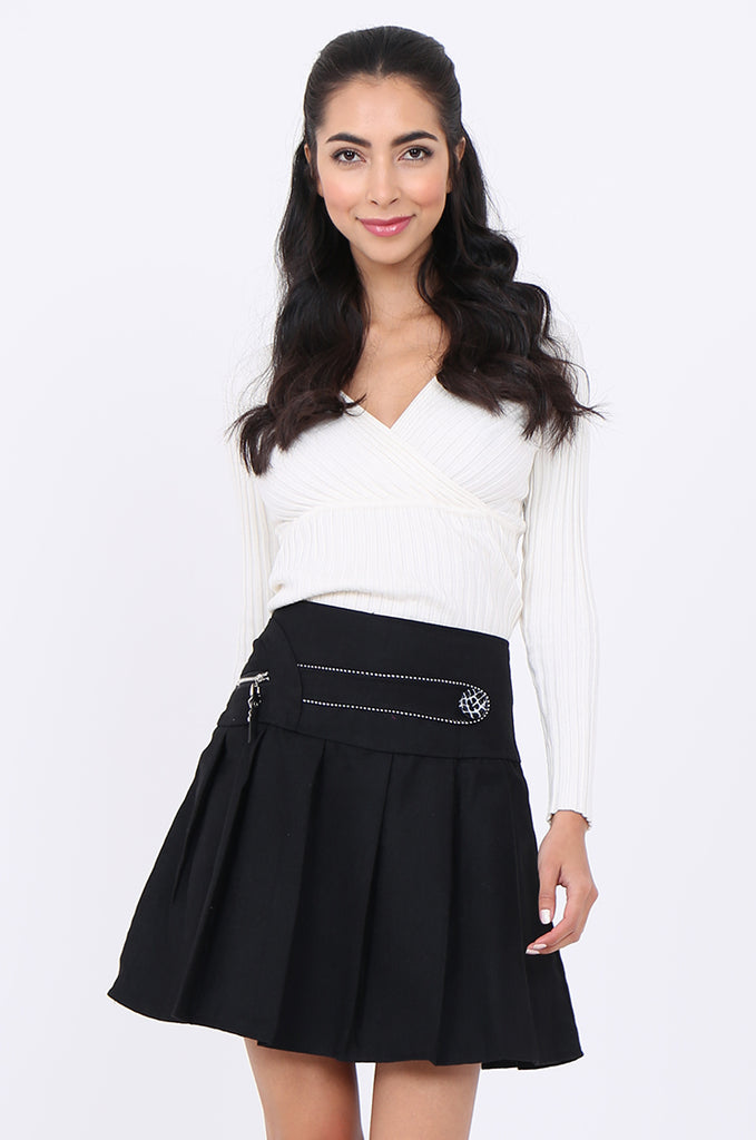 SMA1861-BLACK PLEATED EMBELLISHED FRONT MINI SKIRT