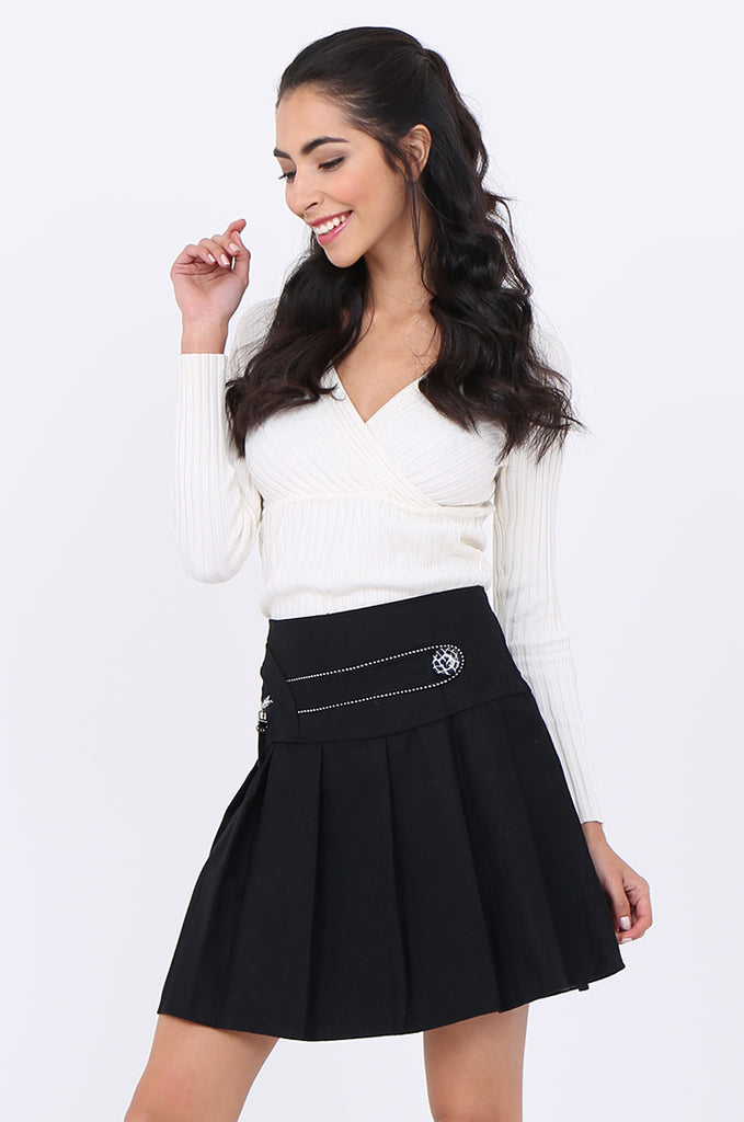 SMA1861-BLACK PLEATED EMBELLISHED FRONT MINI SKIRT view 2