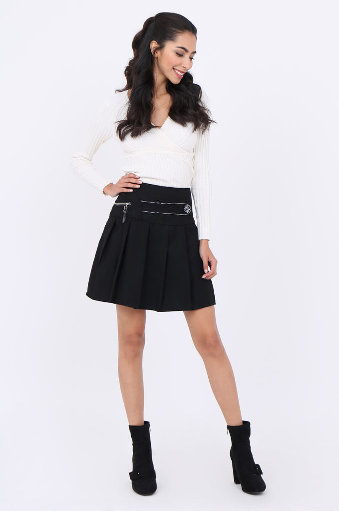 SMA1861-BLACK PLEATED EMBELLISHED FRONT MINI SKIRT view 4