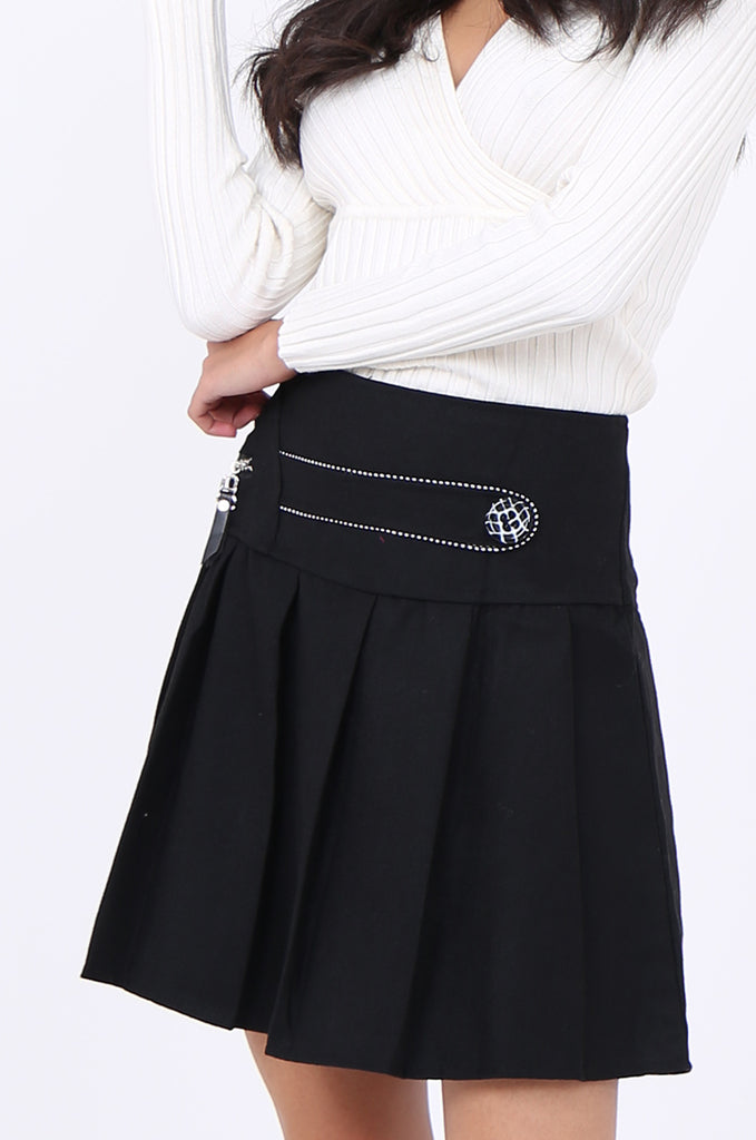 SMA1861-BLACK PLEATED EMBELLISHED FRONT MINI SKIRT view 6