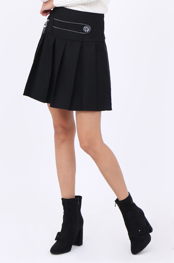 SMA1861-BLACK PLEATED EMBELLISHED FRONT MINI SKIRT view 5