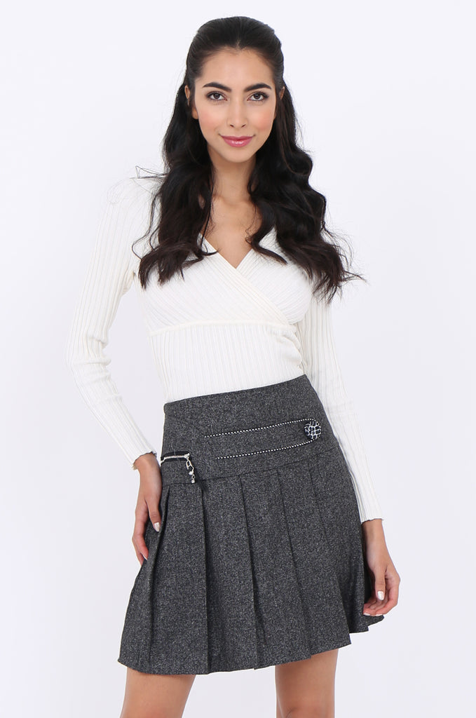 SMA1861-GREY PLEATED EMBELLISHED FRONT MINI SKIRT view main view