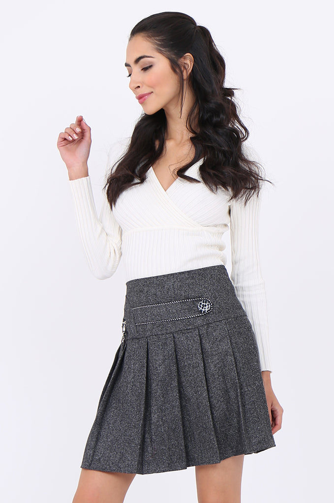 SMA1861-GREY PLEATED EMBELLISHED FRONT MINI SKIRT view 2