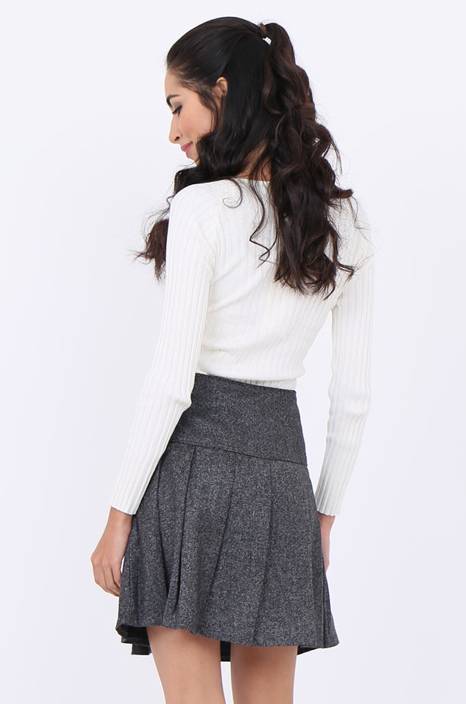 SMA1861-GREY PLEATED EMBELLISHED FRONT MINI SKIRT view 3