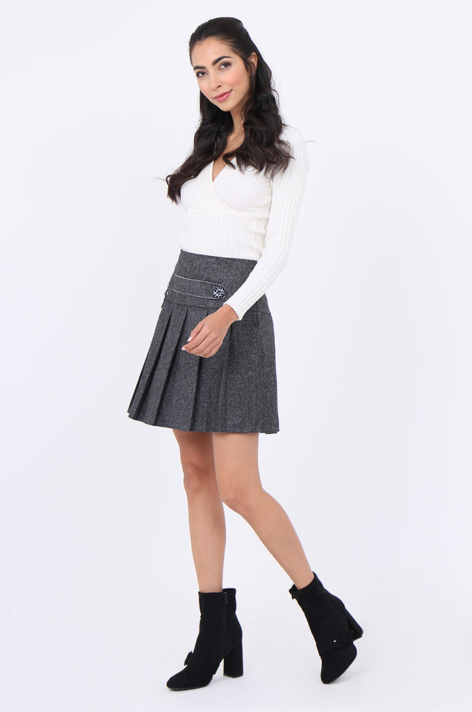SMA1861-GREY PLEATED EMBELLISHED FRONT MINI SKIRT view 4