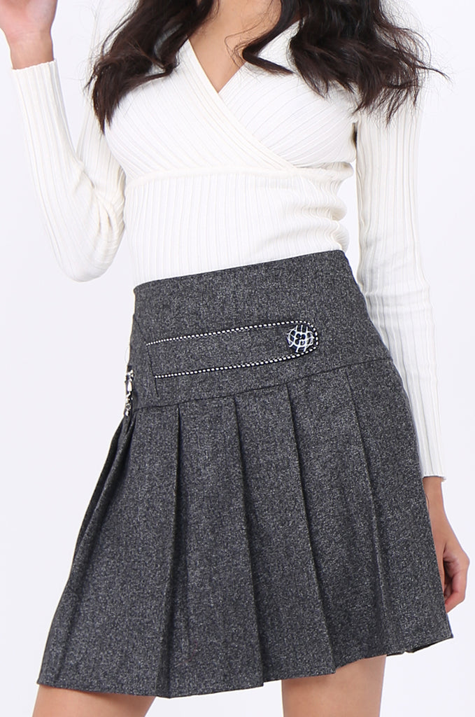 SMA1861-GREY PLEATED EMBELLISHED FRONT MINI SKIRT view 6