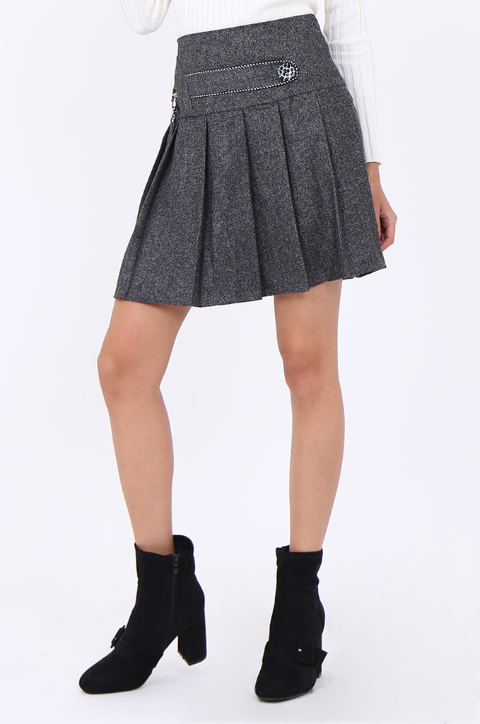 SMA1861-GREY PLEATED EMBELLISHED FRONT MINI SKIRT view 5