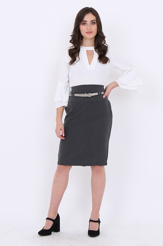 SMA1862-GREY BELTED FRONT POCKET PENCIL SKIRT