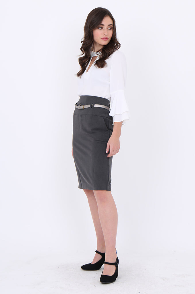 SMA1862-GREY BELTED FRONT POCKET PENCIL SKIRT view 2