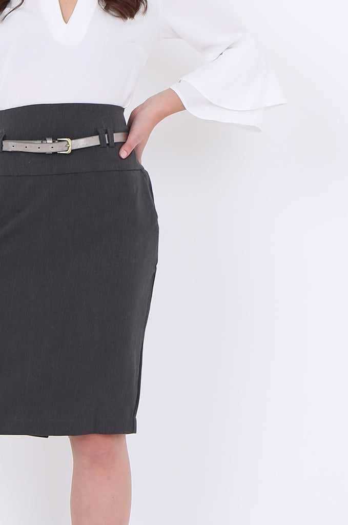 SMA1862-GREY BELTED FRONT POCKET PENCIL SKIRT view 5