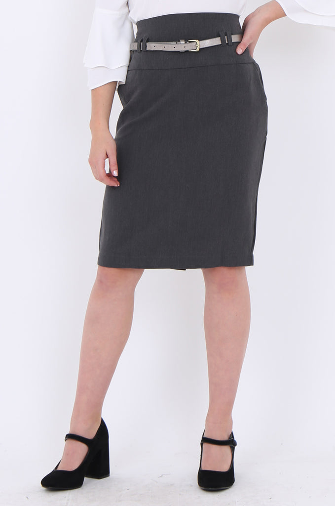 SMA1862-GREY BELTED FRONT POCKET PENCIL SKIRT view 4