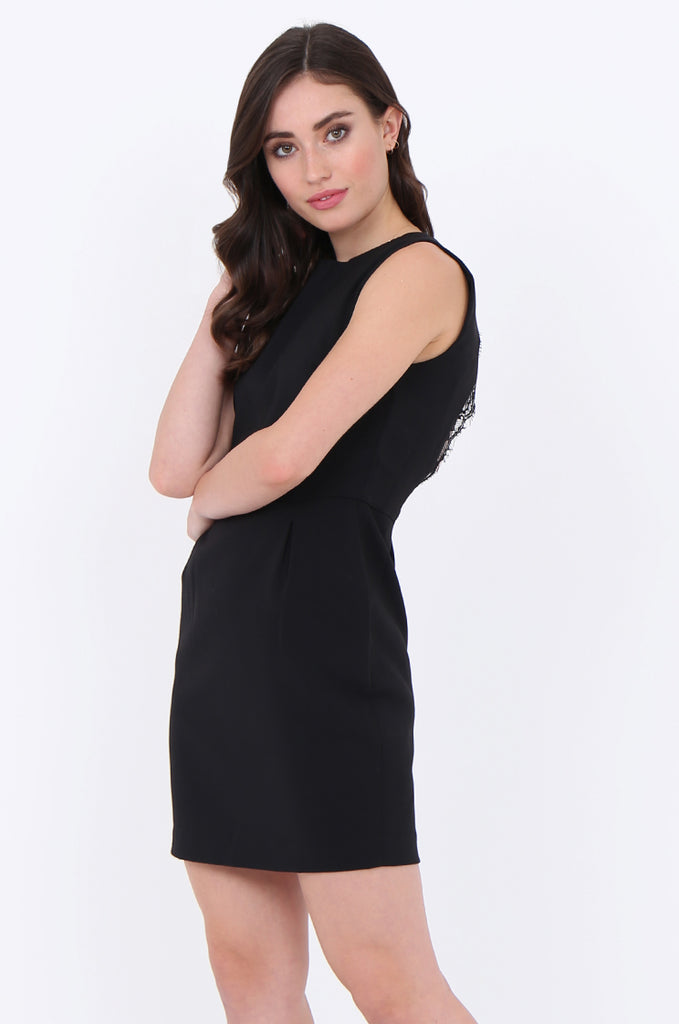 SMA1864-BLACK LACE TRIM CUT OUT BACK SLEEVELESS DRESS view 3