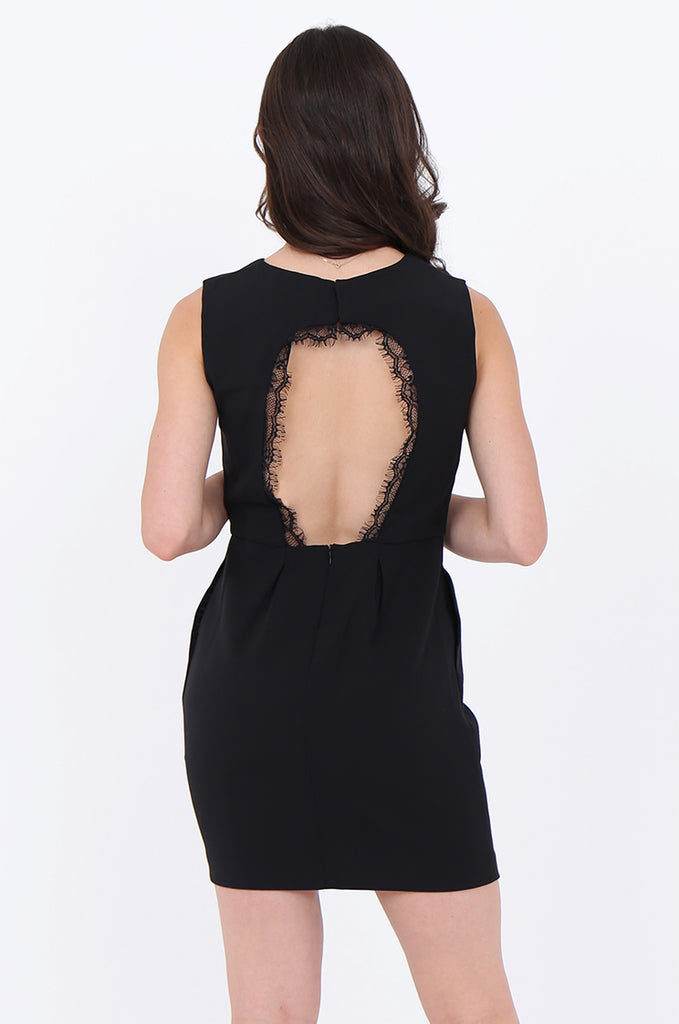 SMA1864-BLACK LACE TRIM CUT OUT BACK SLEEVELESS DRESS view 4