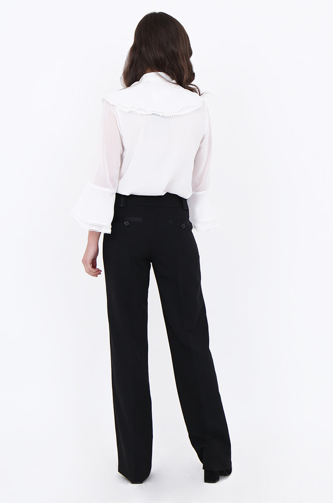 SMA1866-BLACK SATIN SIDE STRIPE POCKET WIDE LEG TROUSERS view 3