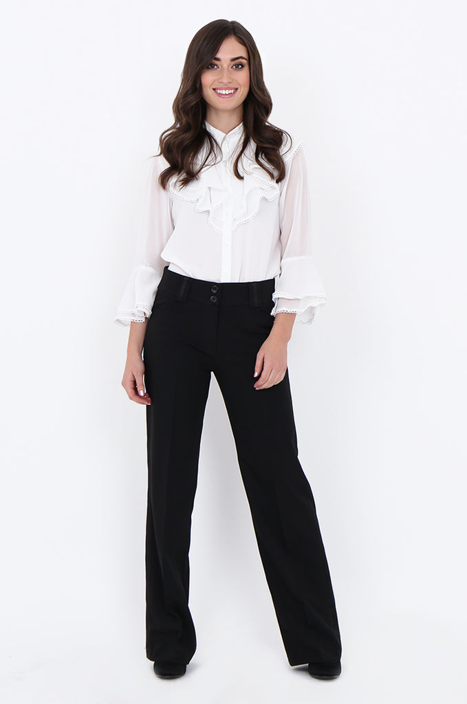 SMA1866-BLACK SATIN SIDE STRIPE POCKET WIDE LEG TROUSERS