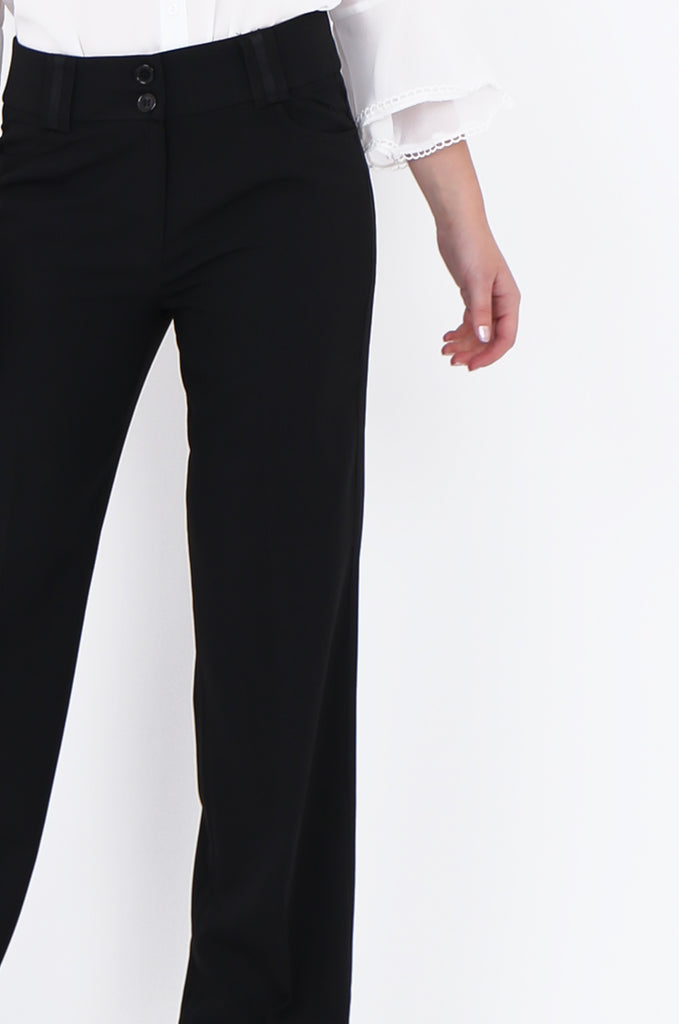 SMA1866-BLACK SATIN SIDE STRIPE POCKET WIDE LEG TROUSERS view 5