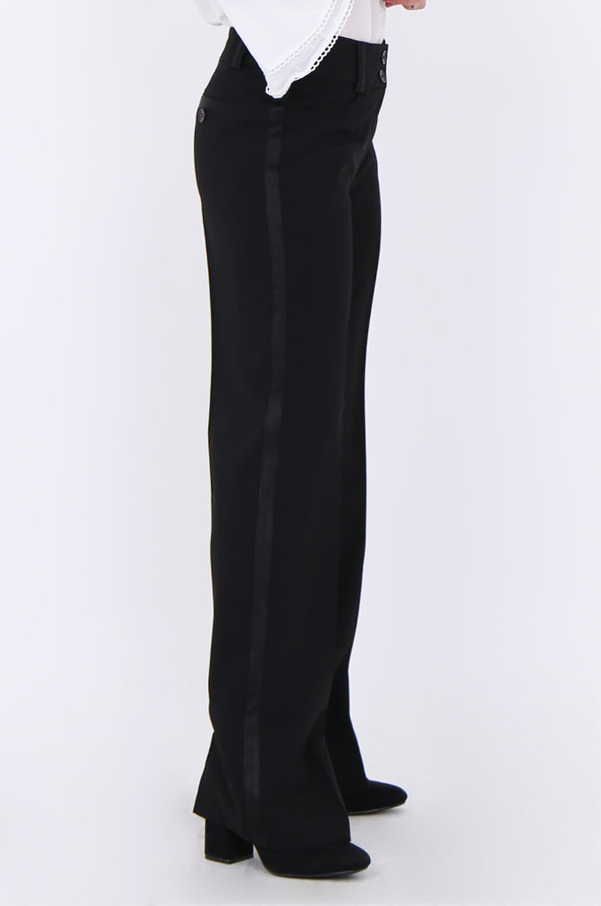 SMA1866-BLACK SATIN SIDE STRIPE POCKET WIDE LEG TROUSERS view 4