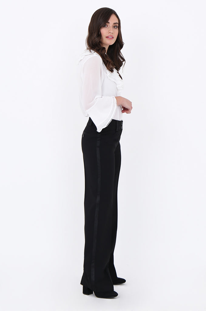 SMA1866-BLACK SATIN SIDE STRIPE POCKET WIDE LEG TROUSERS view 2