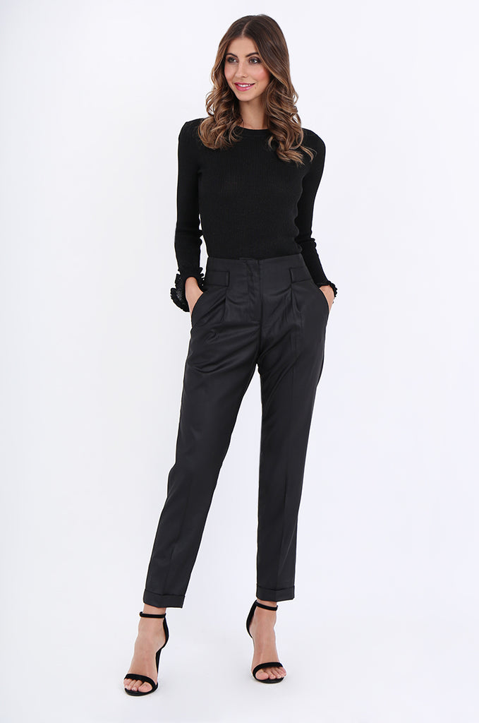 SMA1867-BLACK SLIM LEG PLEAT FRONT POCKET TROUSERS