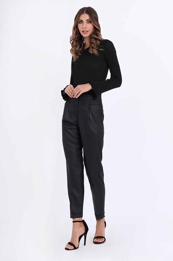 SMA1867-BLACK SLIM LEG PLEAT FRONT POCKET TROUSERS view 2