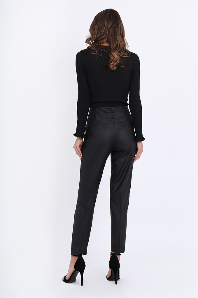 SMA1867-BLACK SLIM LEG PLEAT FRONT POCKET TROUSERS view 3