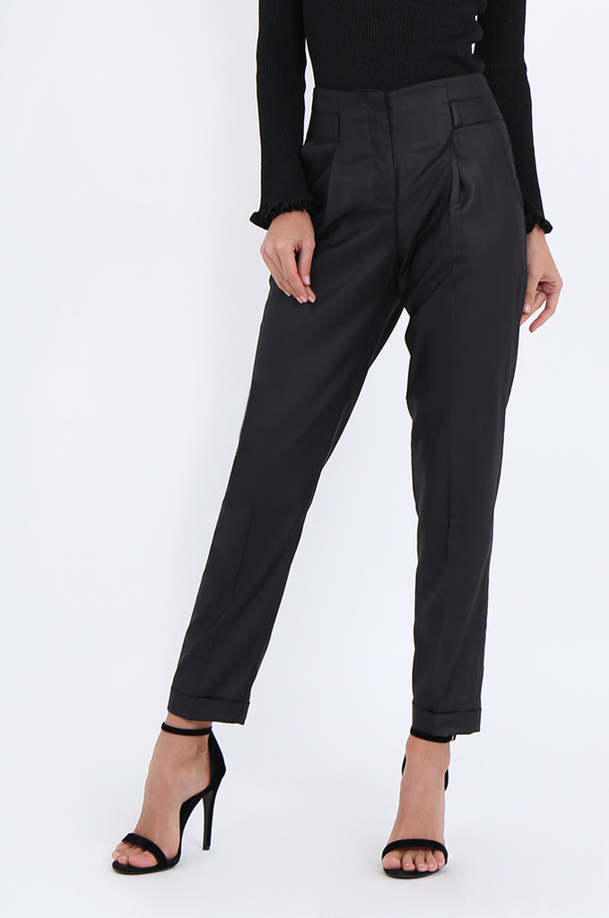 SMA1867-BLACK SLIM LEG PLEAT FRONT POCKET TROUSERS view 4