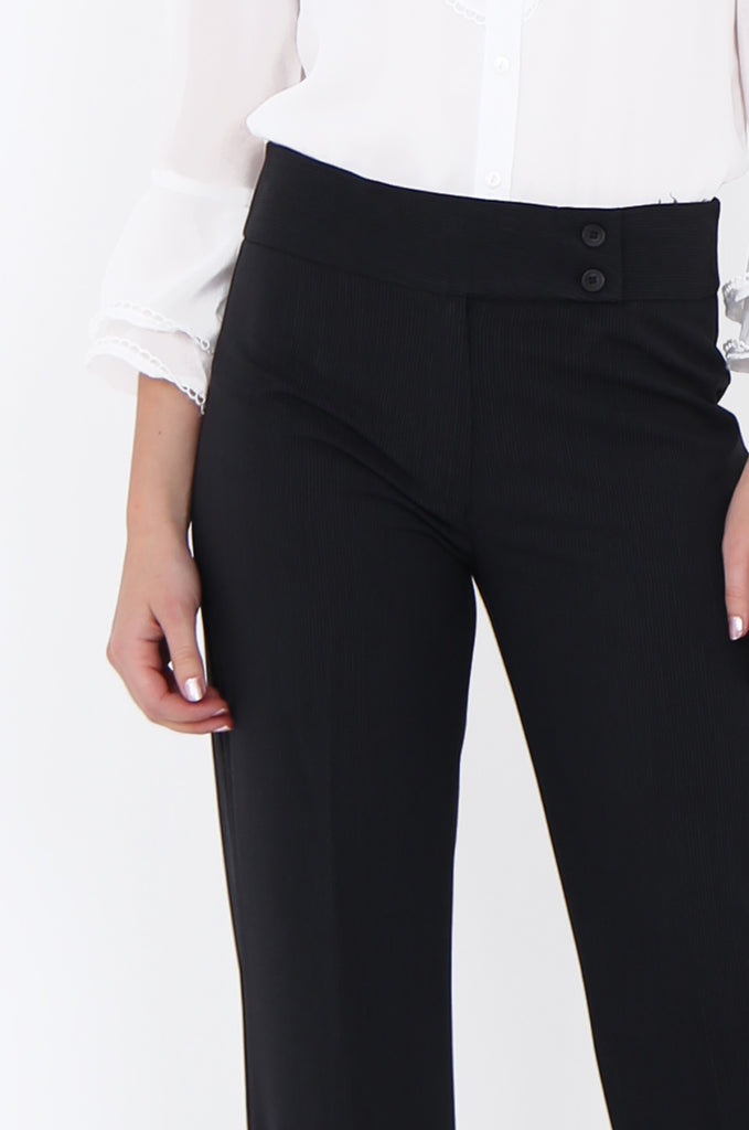 BLACK PINSTRIPE BUTTON WAISTBAND WIDE LEG TROUSERS-SMA1871