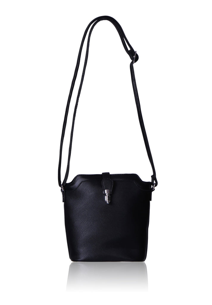 SMB0411-BLACK ETCHED TRIMMED CROSSBODY BUCKET BAG