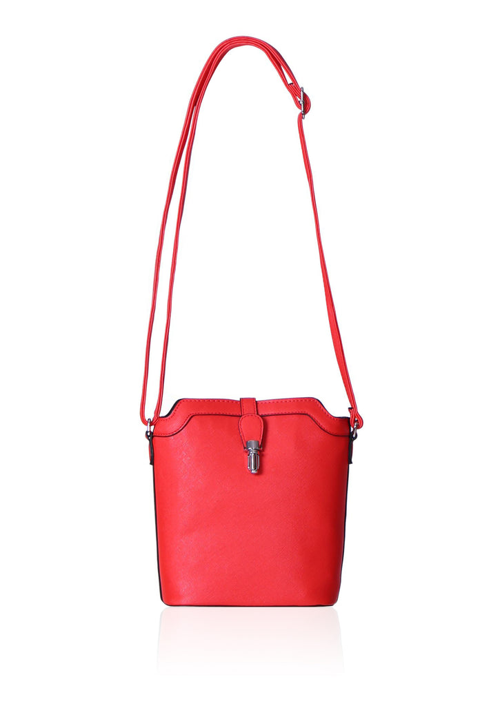 SMB0411-RED ETCHED TRIMMED SHOULDER BUCKET BAG view main view