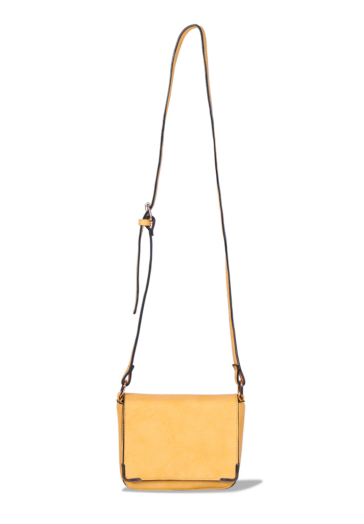 SMB0430-YELLOW MESSENGER BAG WITH METALLIC CORNER DETAILING