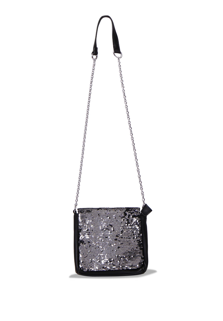 SMB0468-BLACK SEQUIN CHAIN STRAP CROSSBODY BAG