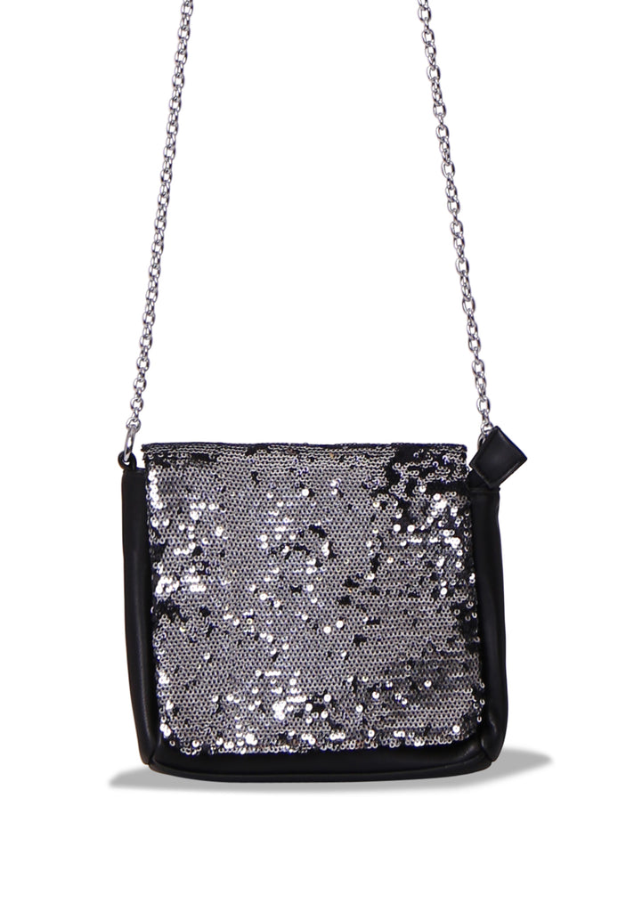 SMB0468-BLACK SEQUIN CHAIN STRAP CROSSBODY BAG view 2