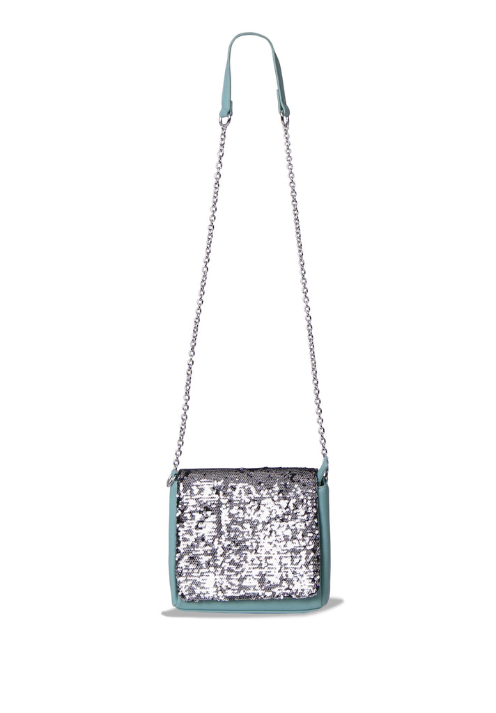 SMB0468-GREEN SEQUIN CHAIN STRAP CROSSBODY BAG