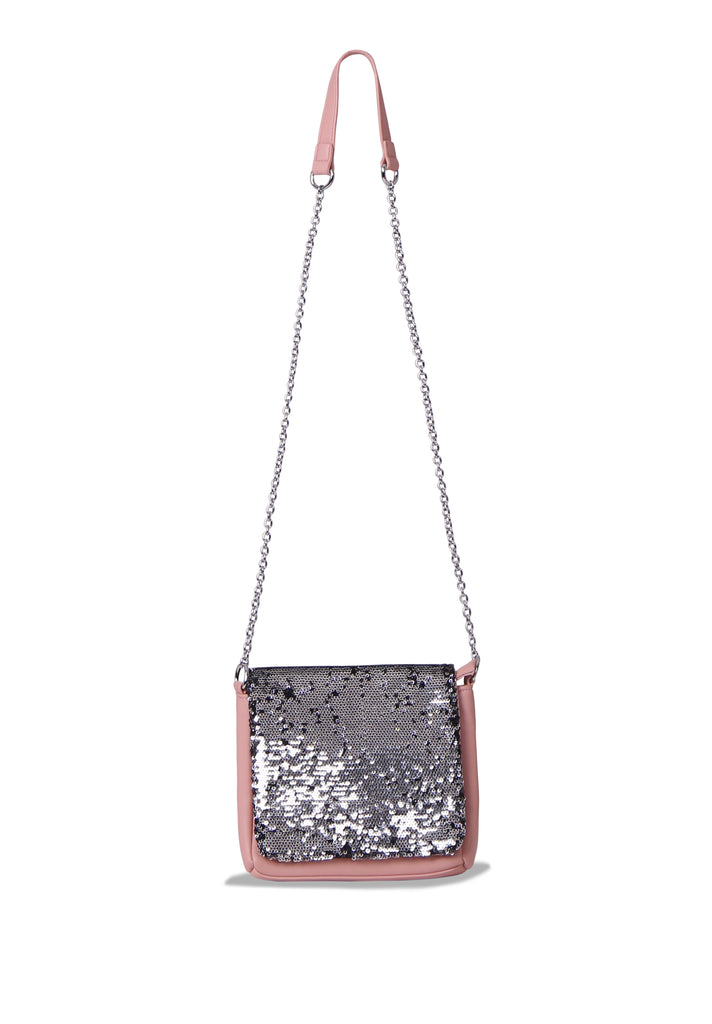 SMB0468-PINK SEQUIN CHAIN STRAP CROSSBODY BAG