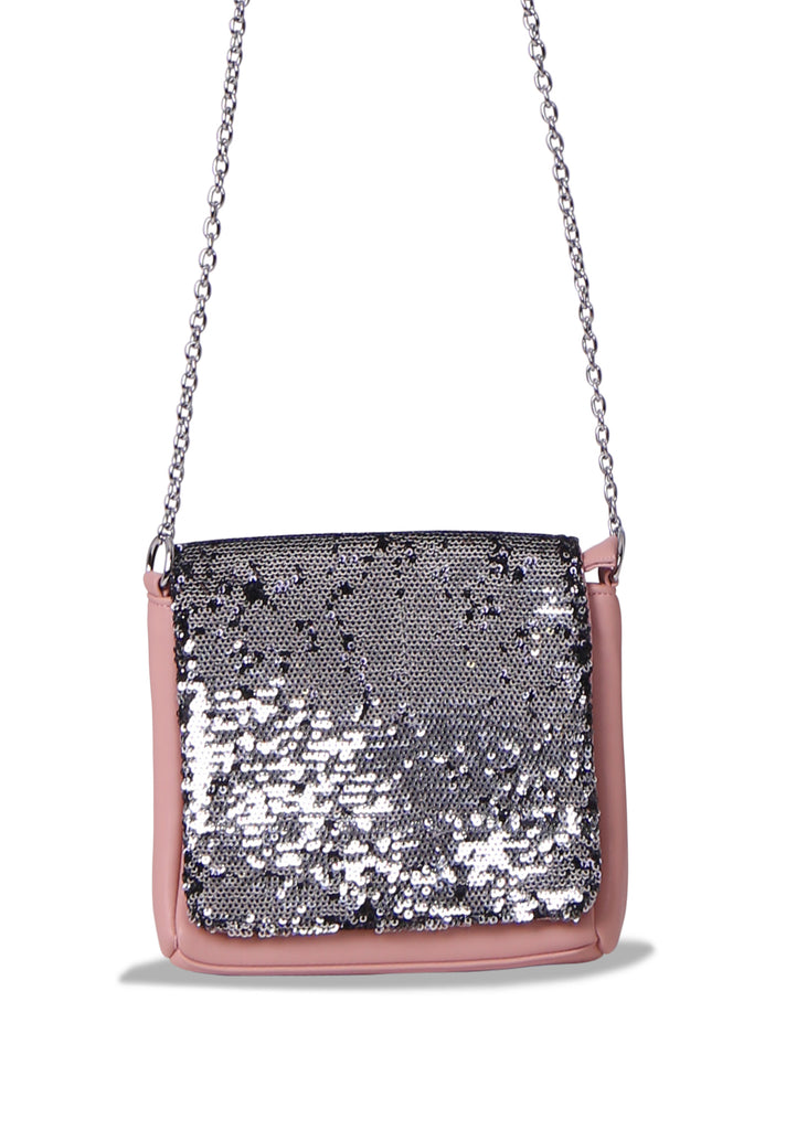 SMB0468-PINK SEQUIN CHAIN STRAP CROSSBODY BAG view 2