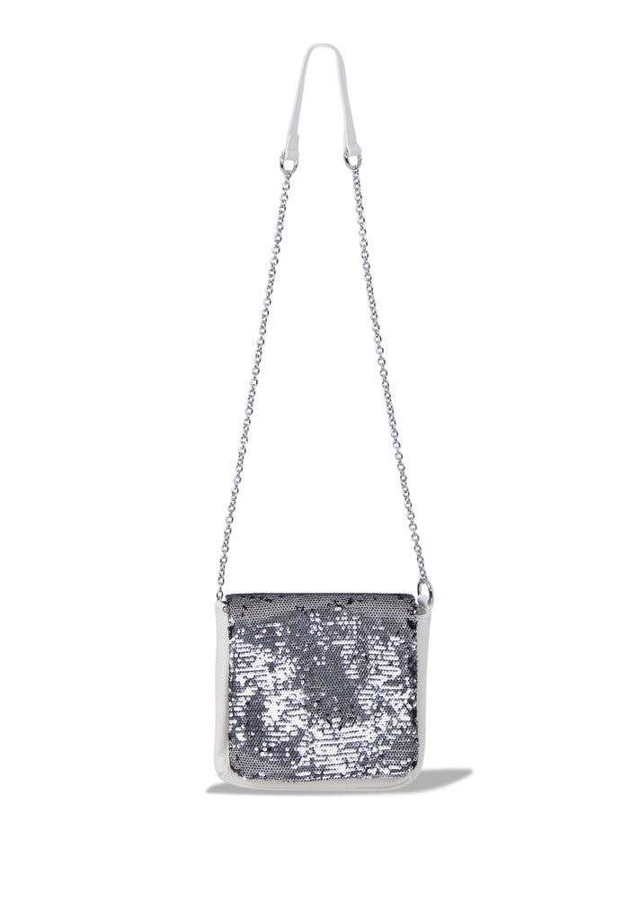 SMB0468-WHITE SEQUIN CHAIN STRAP CROSSBODY BAG view main view